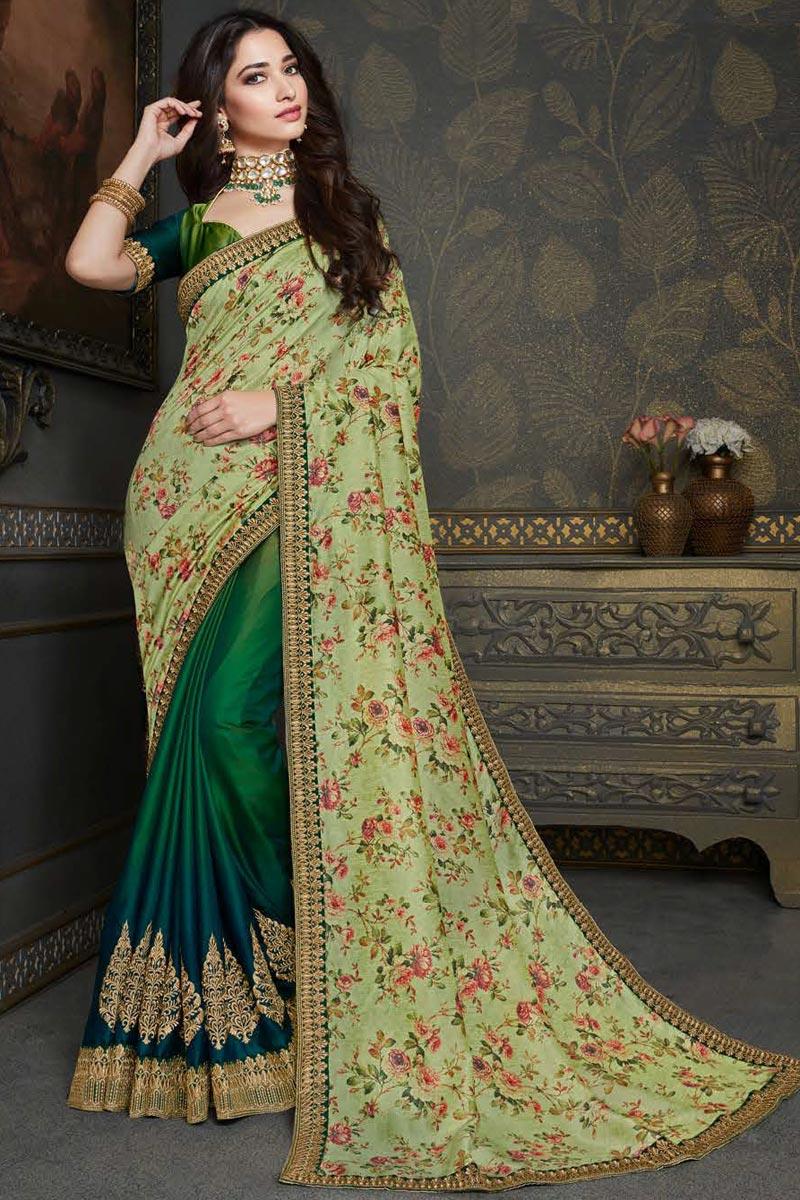 Tamannaah Bhatia Wedding Wear Art Silk Fabric Fancy Embroidery Work Saree In Green Color