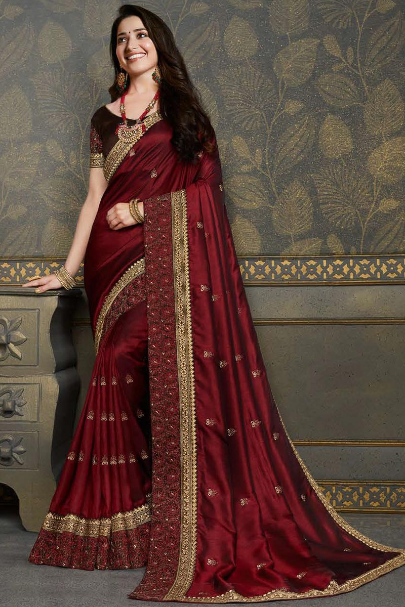 Tamannaah Bhatia Maroon Color Reception Wear Fancy Art Silk Fabric Embroidery Work Saree