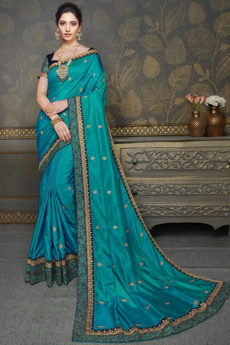 Tamannaah Bhatia Art Silk Fabric Function Wear Cyan Color Embroidery Work Saree