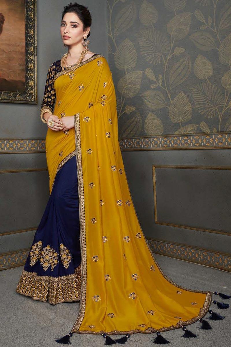 Tamannaah Bhatia Navy Blue Color Function Wear Art Silk Fabric Embroidery Work Saree