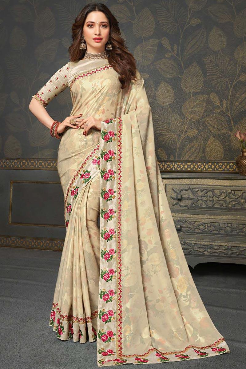 Tamannaah Bhatia Festive Wear Beige Color Art Silk Fabric Embroidery Work Saree