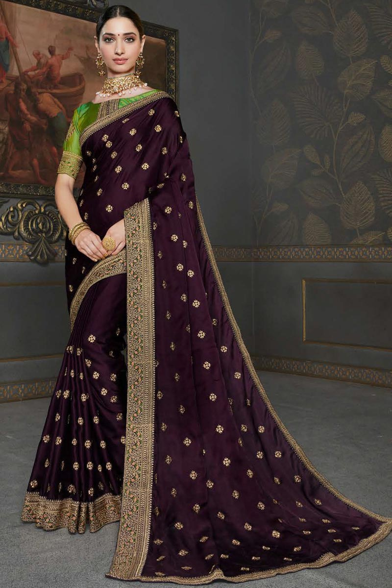 Tamannaah Bhatia Party Wear Art Silk Fabric Embroidery Work Saree In Wine Color