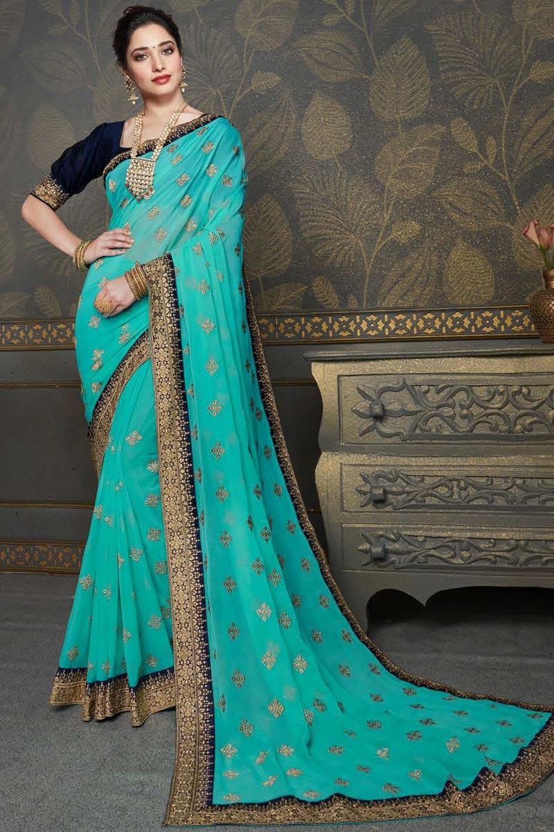 Tamannaah Bhatia Cyan Color Reception Wear Embroidered Saree In Chiffon Fabric