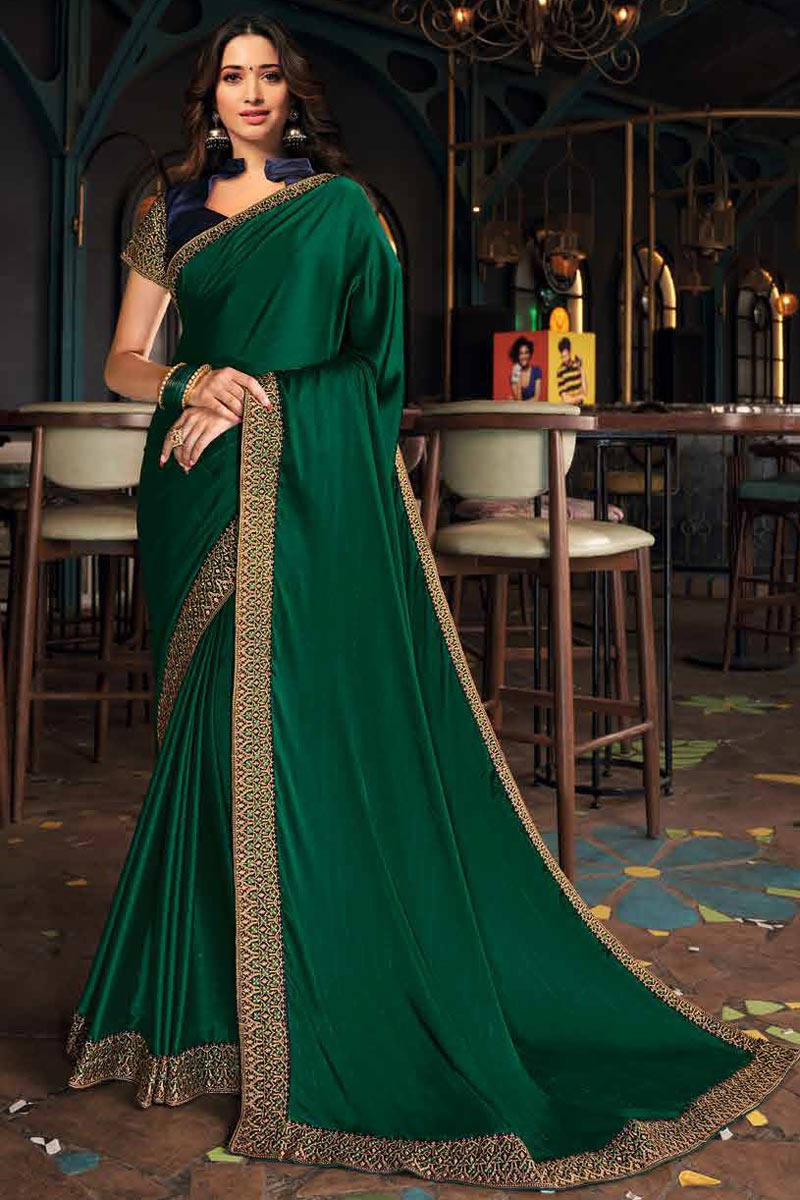 Tamanna Bhatia Art Silk Fabric Function Wear Dark Green Color Border Work Saree