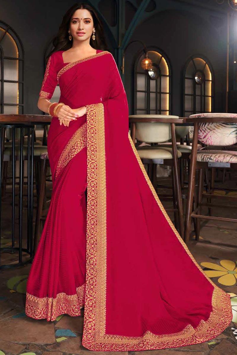 Tamanna Bhatia Rani Color Function Wear Art Silk Fabric Border Work Saree