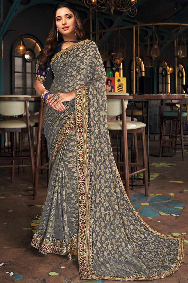 Tamanna Bhatia Art Silk Fabric Festive Wear Grey Color Border Work Saree