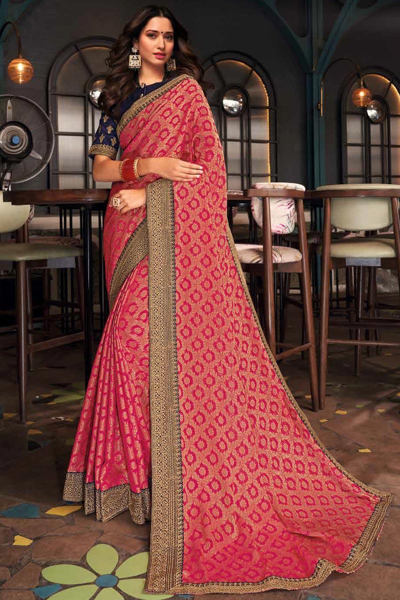 Tamanna Bhatia Party Wear Art Silk Fabric Border Work Saree In Pink Color