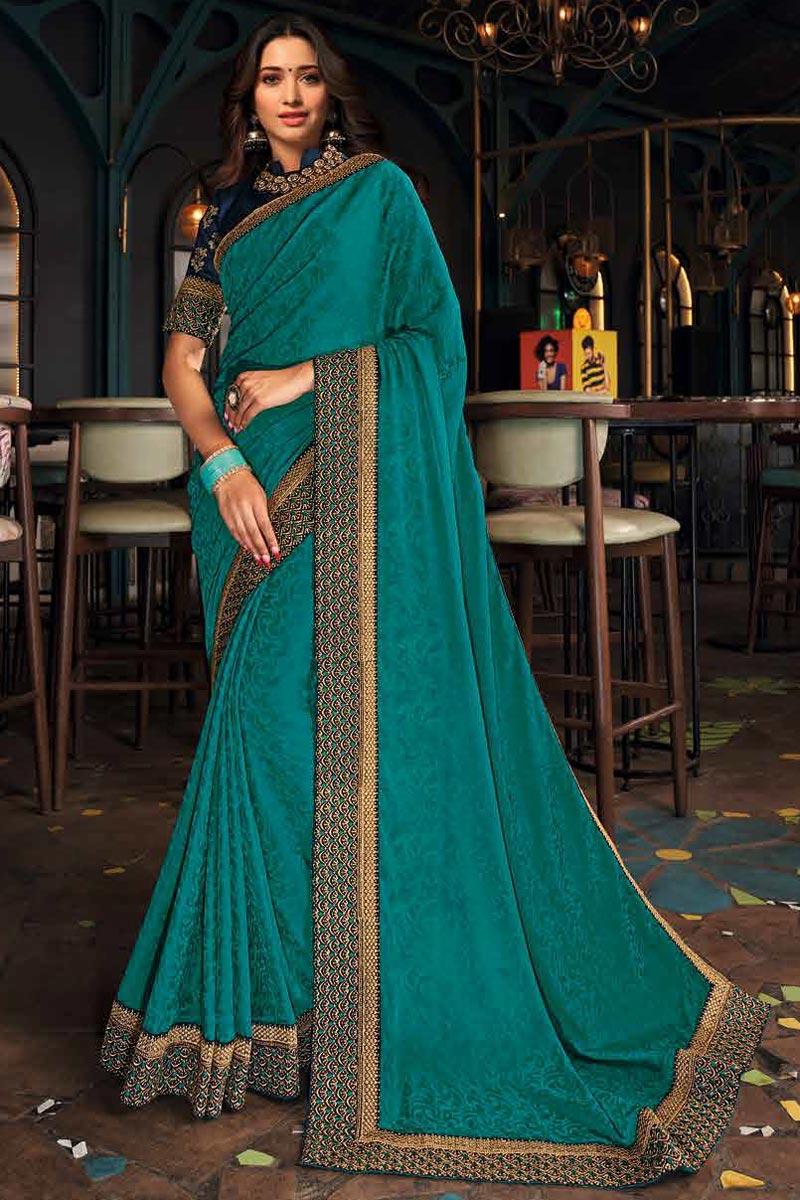 Tamanna Bhatia Teal Color Party Wear Art Silk Fabric Border Work Saree