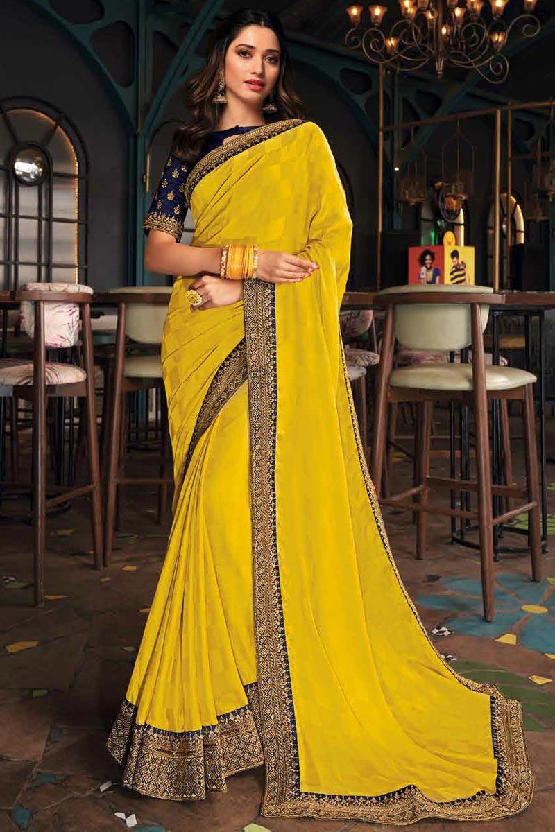 Tamanna Bhatia Art Silk Fabric Sangeet Wear Yellow Color Border Work Saree