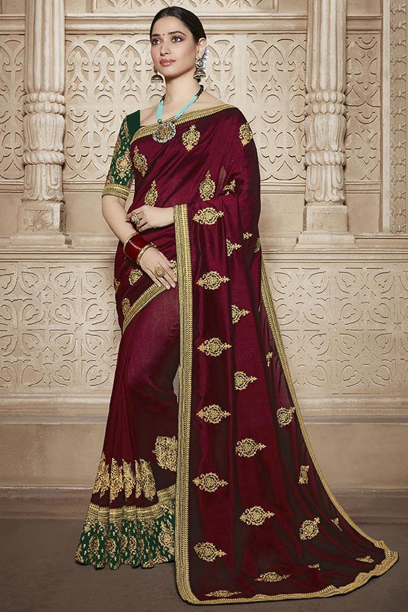 Tamannaah Bhatia Art Silk Maroon Function Wear Designer Lace Border Saree