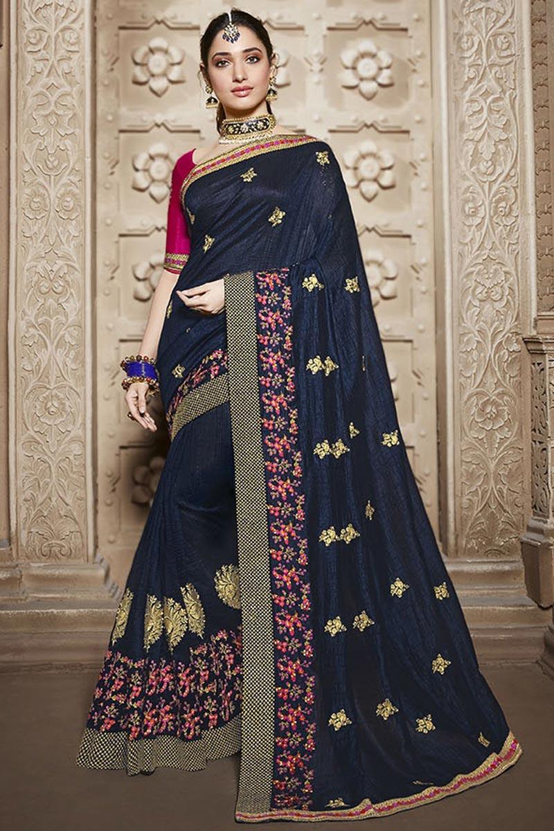 Tamannaah Bhatia Function Wear Designer Navy Blue Lace Border Saree In Art Silk