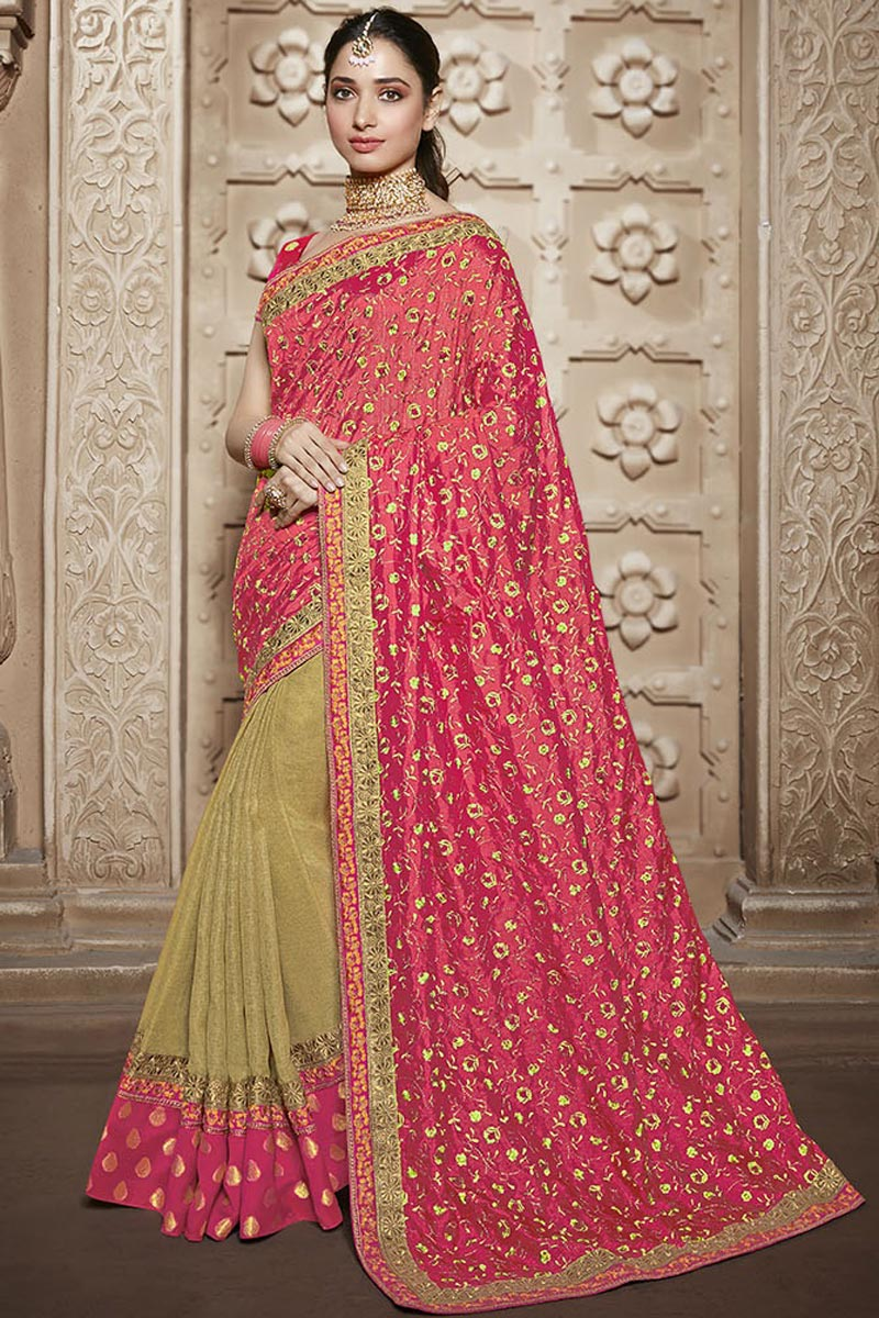 Tamannaah Bhatia Art Silk Function Wear Designer Lace Border Saree In Beige