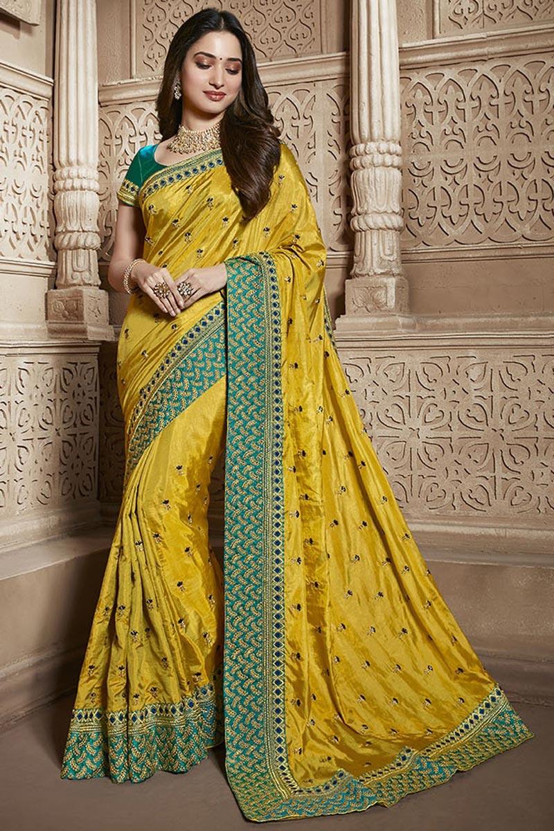 Tamannaah Bhatia Yellow Function Wear Designer Art Silk Lace Border Work Saree