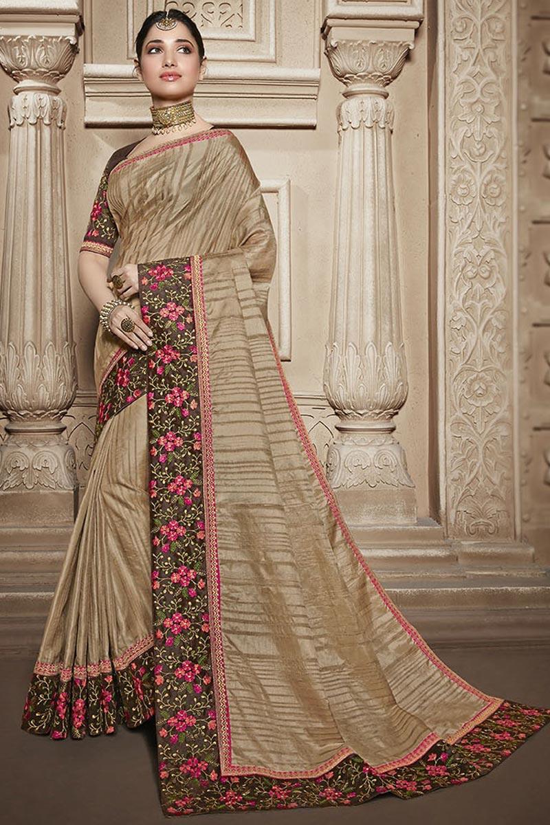 Tamannaah Bhatia Function Wear Designer Art Silk Lace Border Work Saree In Cream