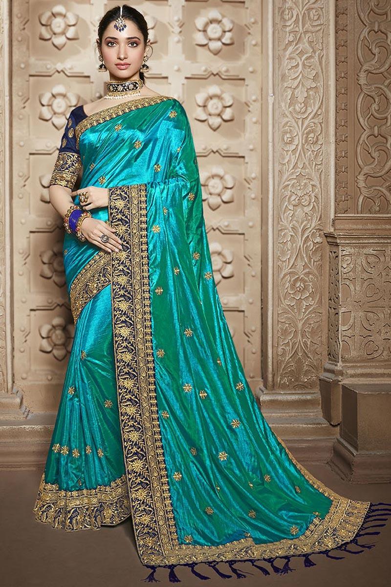 Tamannaah Bhatia Cyan Art Silk Function Wear Designer Lace Border Saree