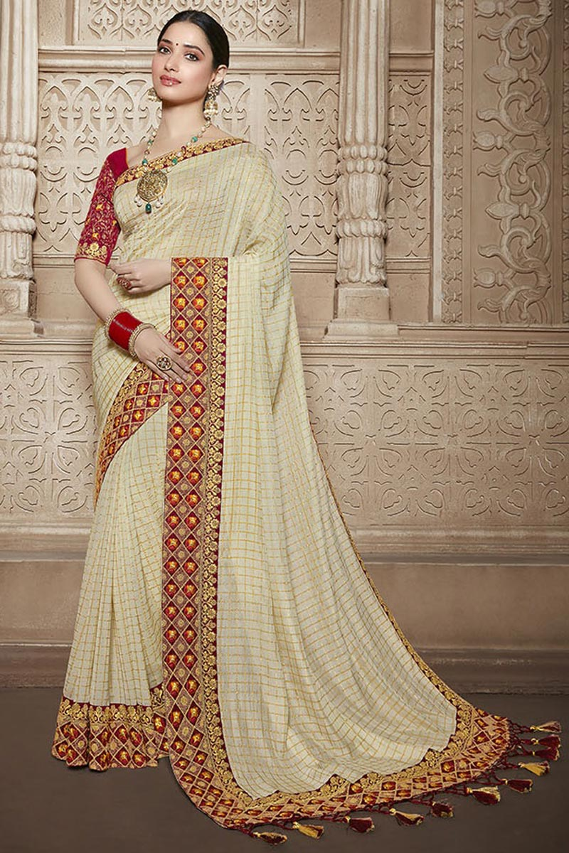 Tamannaah Bhatia Art Silk Function Wear Designer Beige Lace Border Work Saree