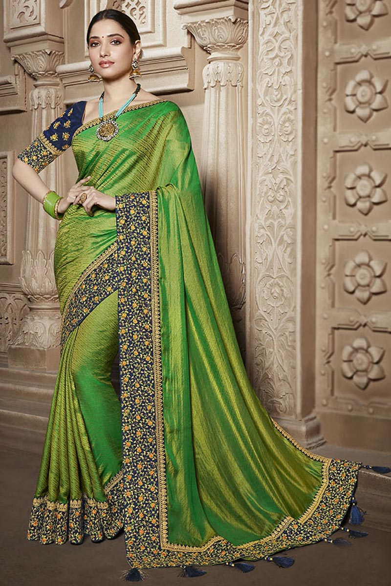 Tamannaah Bhatia Function Wear Designer Green Lace Border Art Silk Saree