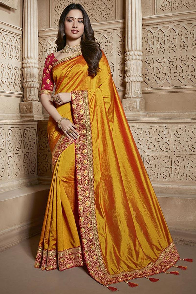 Tamannaah Bhatia Function Wear Designer Lace Border Art Silk Orange Saree