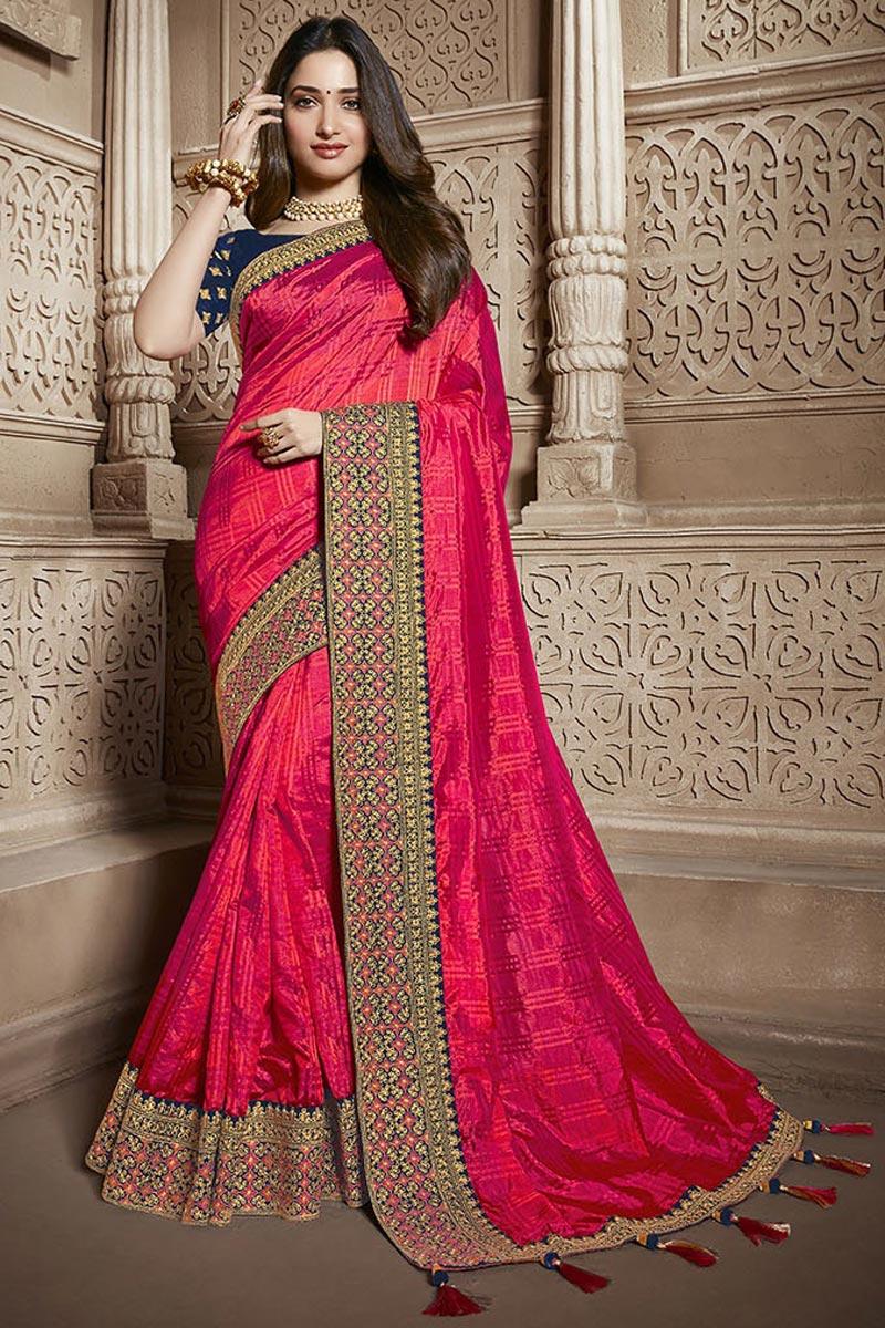 Tamannaah Bhatia Function Wear Designer Lace Border Art Silk Pink Saree