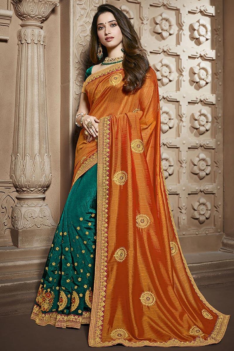 Tamannaah Bhatia Teal Function Wear Designer Lace Border Art Silk Saree