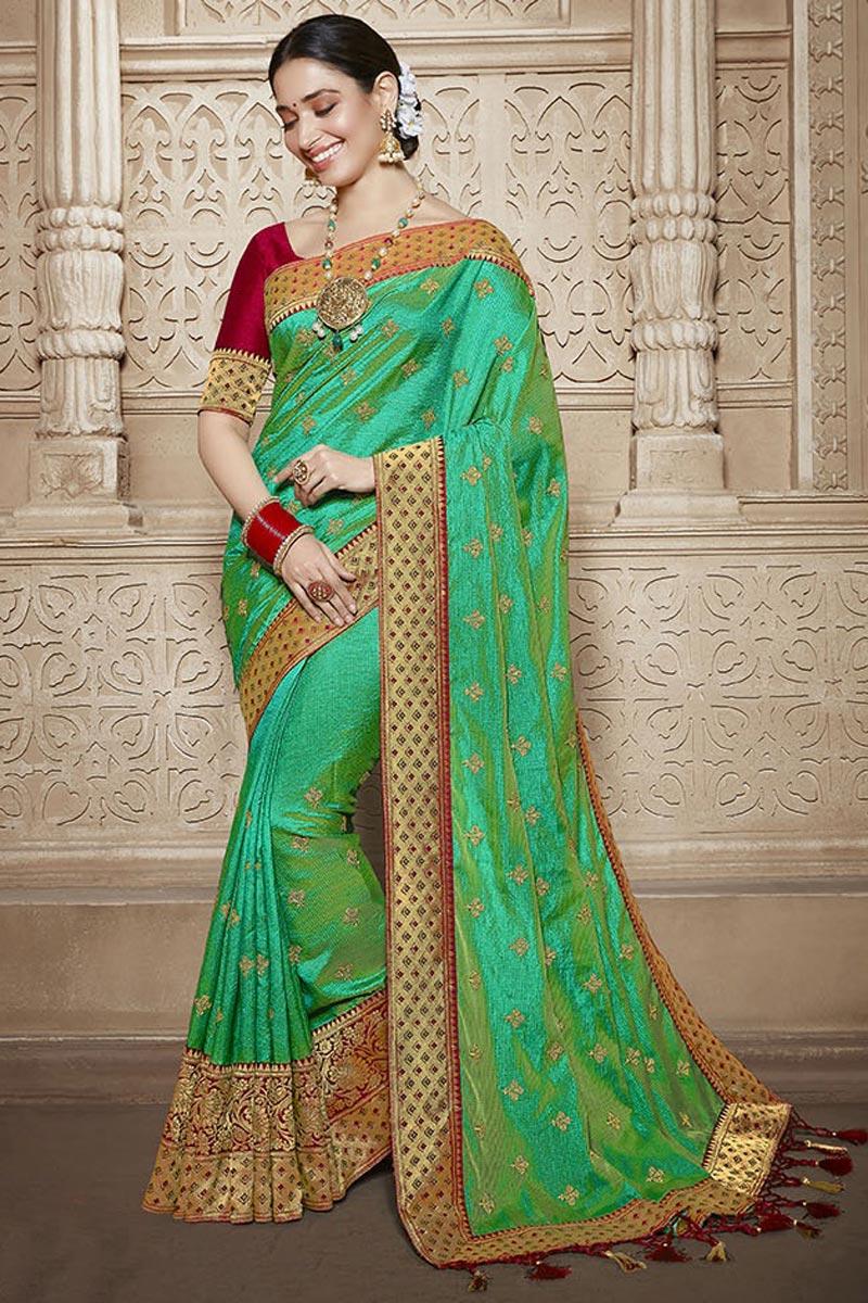 Tamannaah Bhatia Art Silk Function Wear Designer Lace Border Work Saree In Green