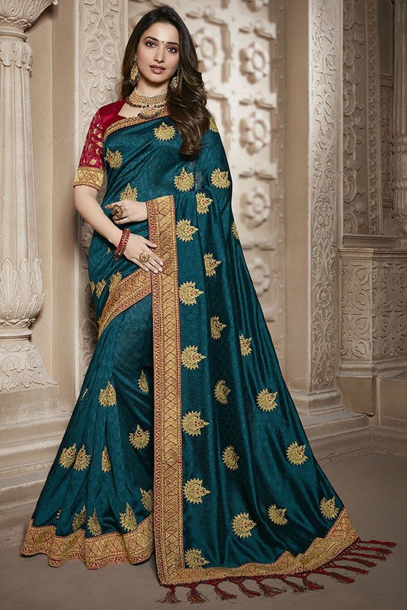 Tamannaah Bhatia Function Wear Designer Teal Lace Border Saree In Art Silk