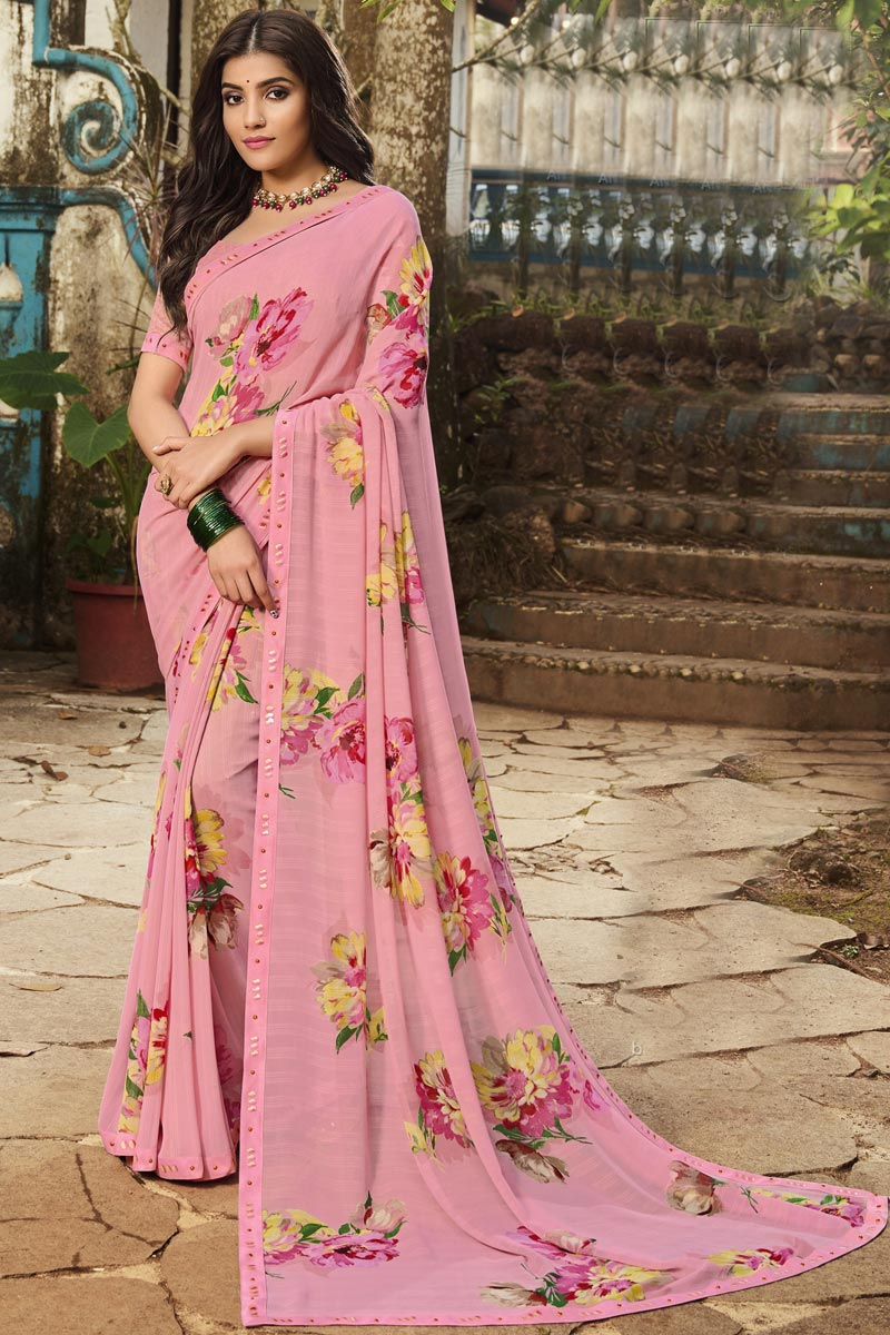 Georgette Fabric Pink Color Daily Wear Fancy Printed Saree