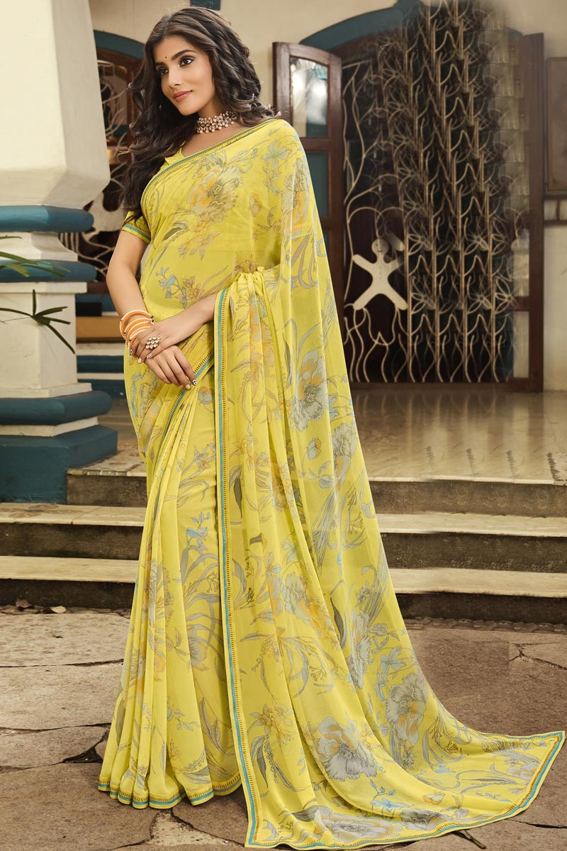 Georgette Fabric Office Wear Yellow Color Fancy Printed Saree