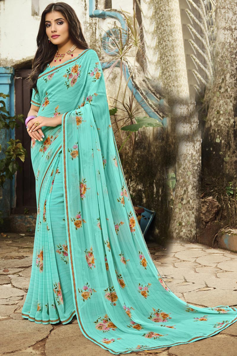 Fancy Georgette Fabric Printed Daily Wear Cyan Color Saree