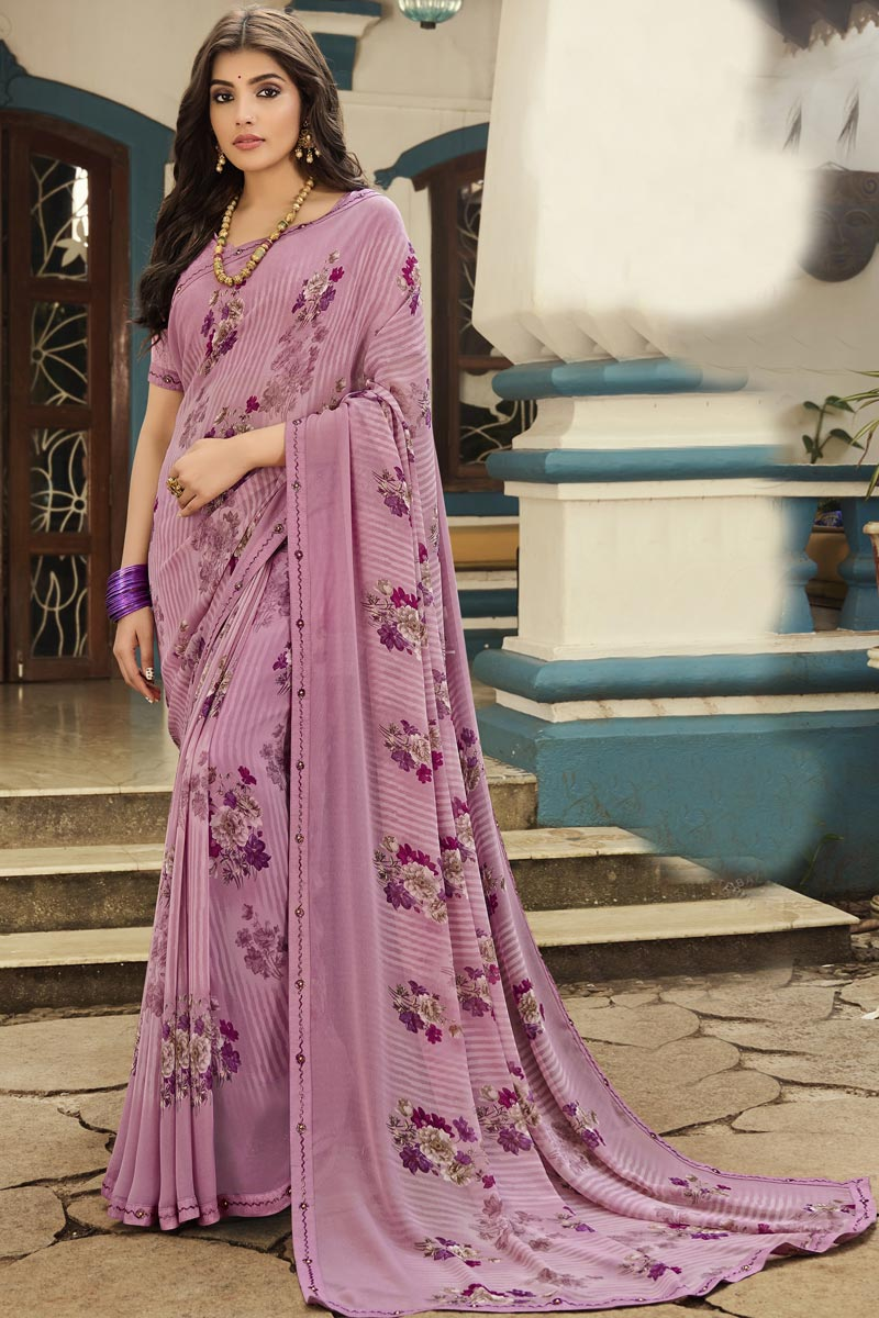 Lavender Color Georgette Fabric Printed Daily Wear Simple Saree