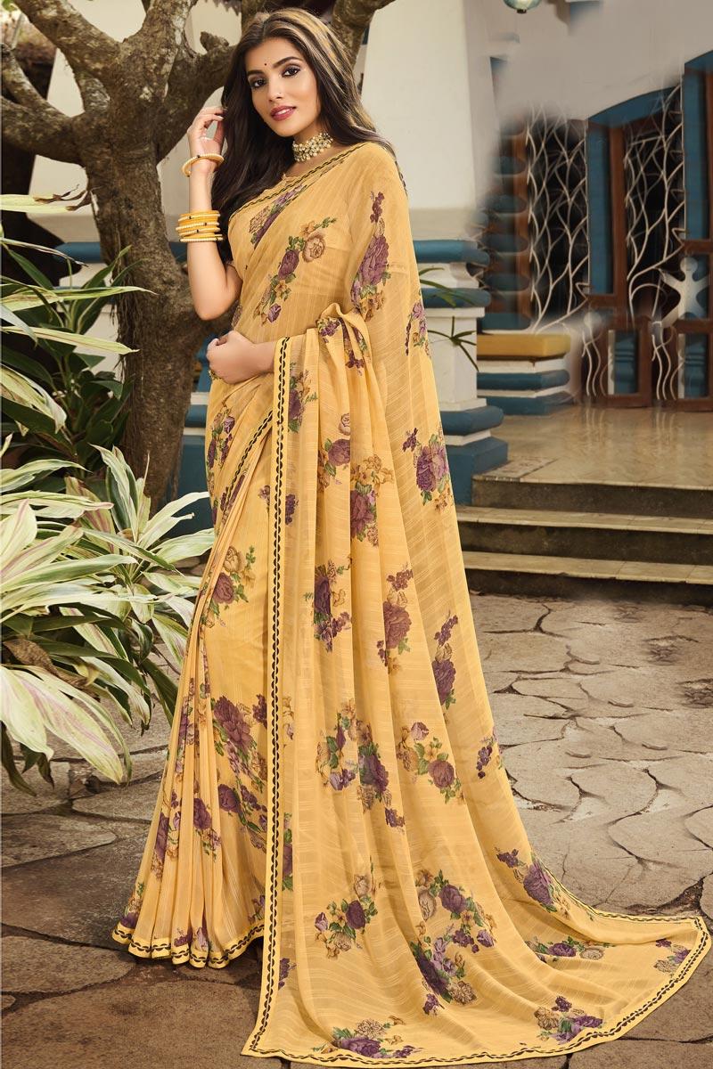 Chikoo Color Regular Wear Georgette Fabric Printed Saree