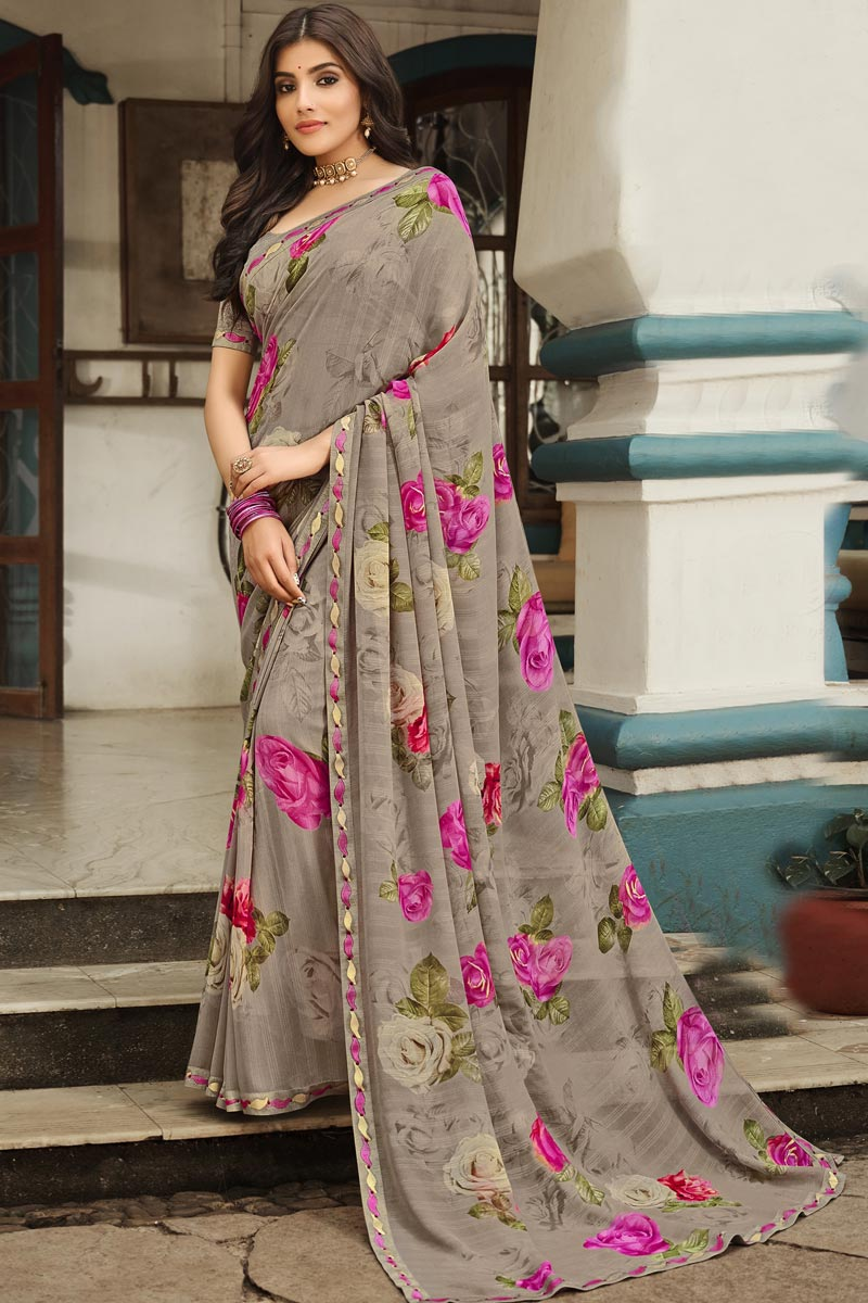 Dark Beige Color Georgette Fabric Regular Wear Fancy Printed Saree