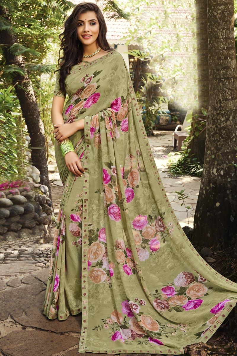 Georgette Fabric Regular Wear Beige Color Printed Saree