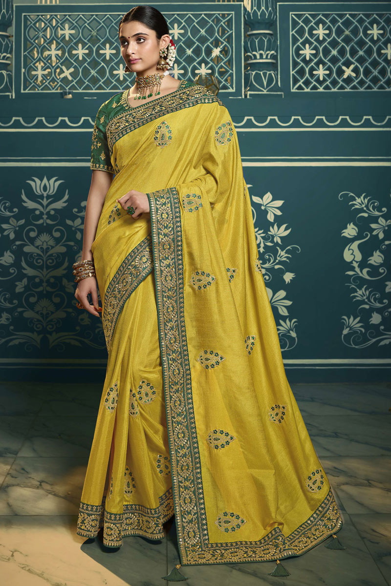 Yellow Color Sangeet Wear Silk Fabric Embroidery Work Saree