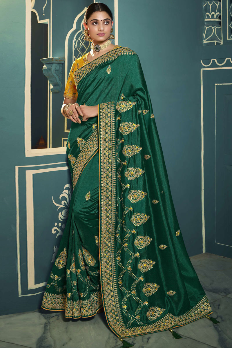 Silk Fabric Function Wear Dark Green Color Embroidered Saree