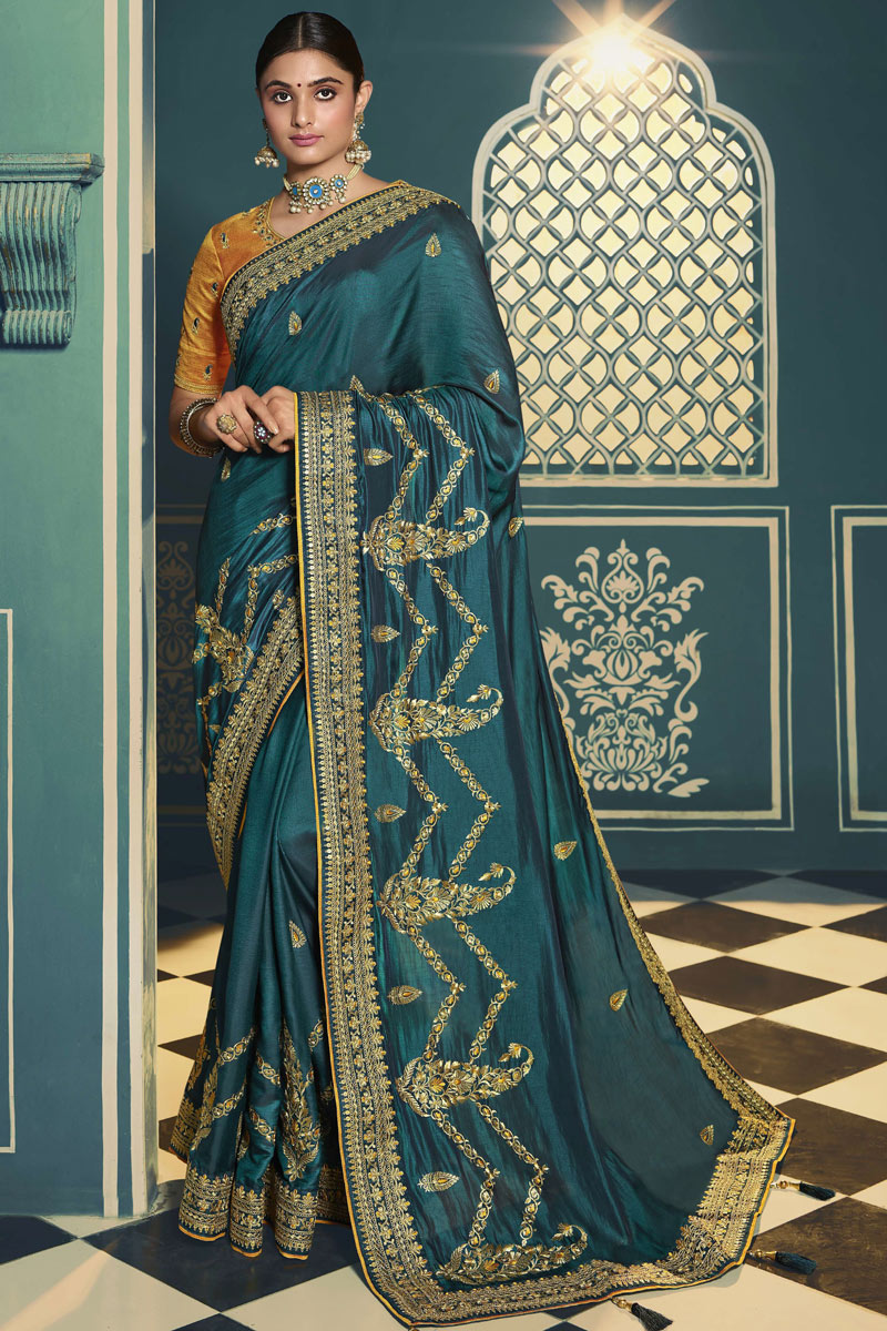 Silk Fabric Party Wear Saree In Dark Teal Color