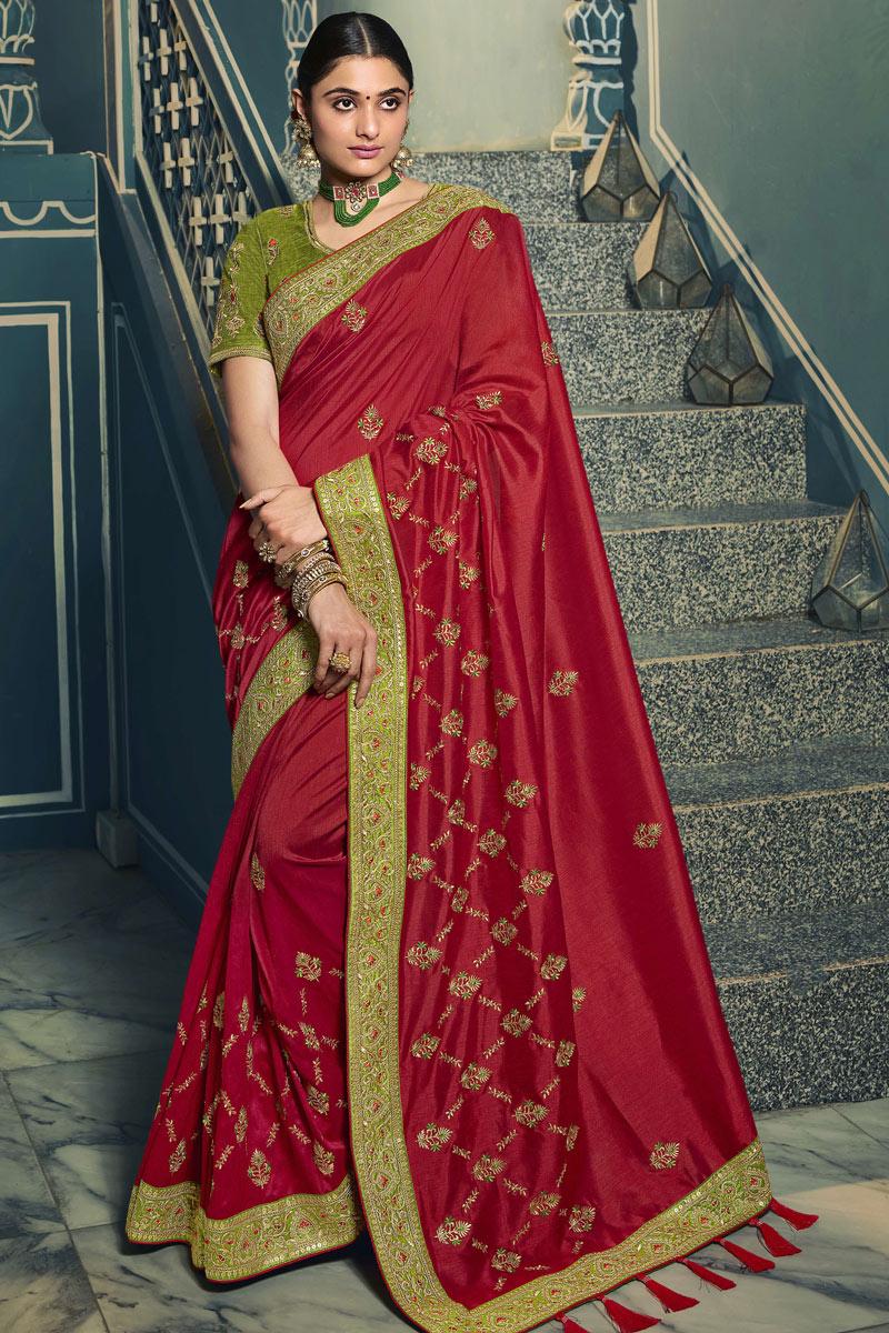 Maroon Color Silk Fabric Festive Wear Saree