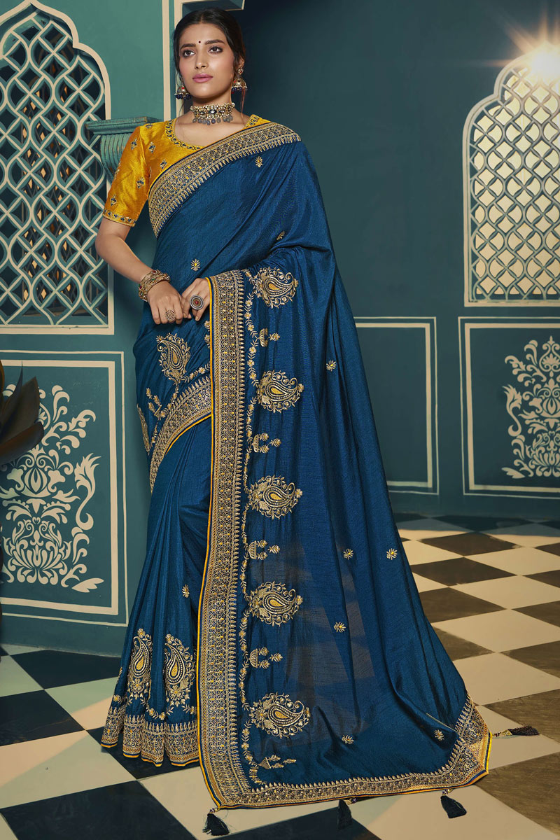 Blue Color Traditional Saree In Silk Fabric