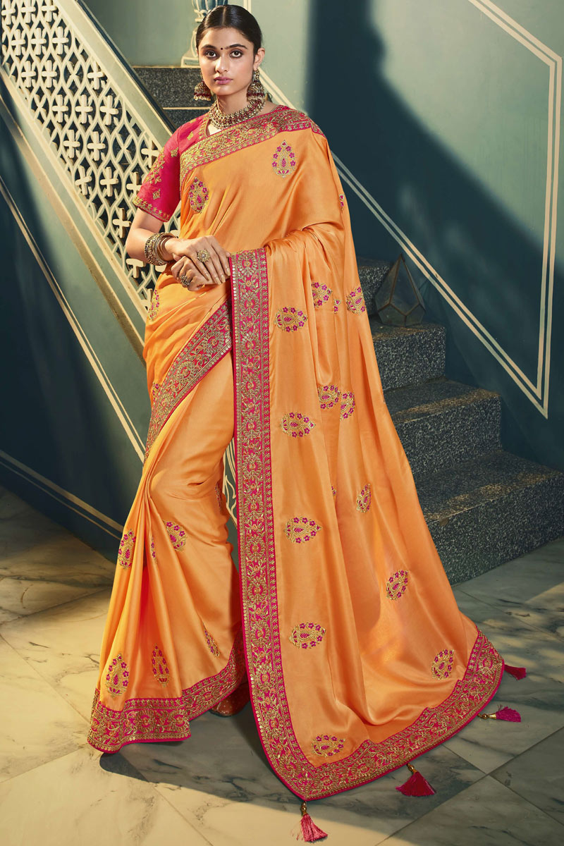 Peach Color Silk Fabric Function Wear Saree