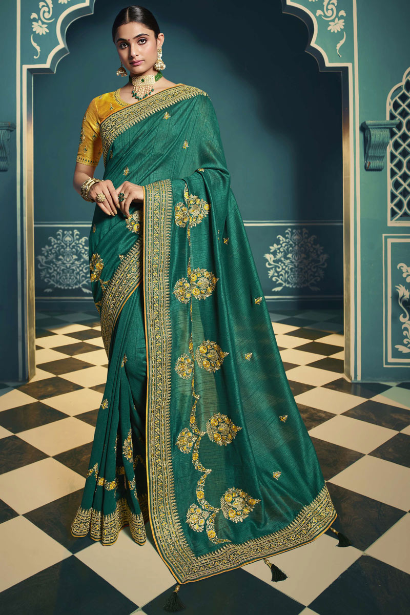 Silk Fabric Teal Color Designer Saree