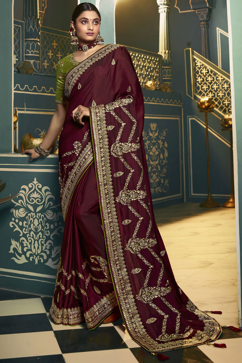 Wine Color Party Wear Saree In Silk Fabric