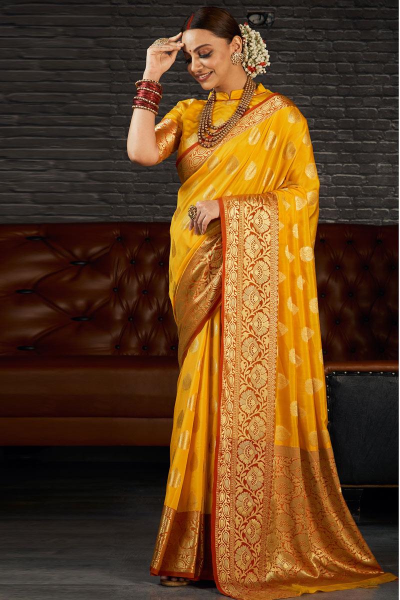 Art Silk Fabric Sangeet Wear Mustard Color Weaving Work Saree