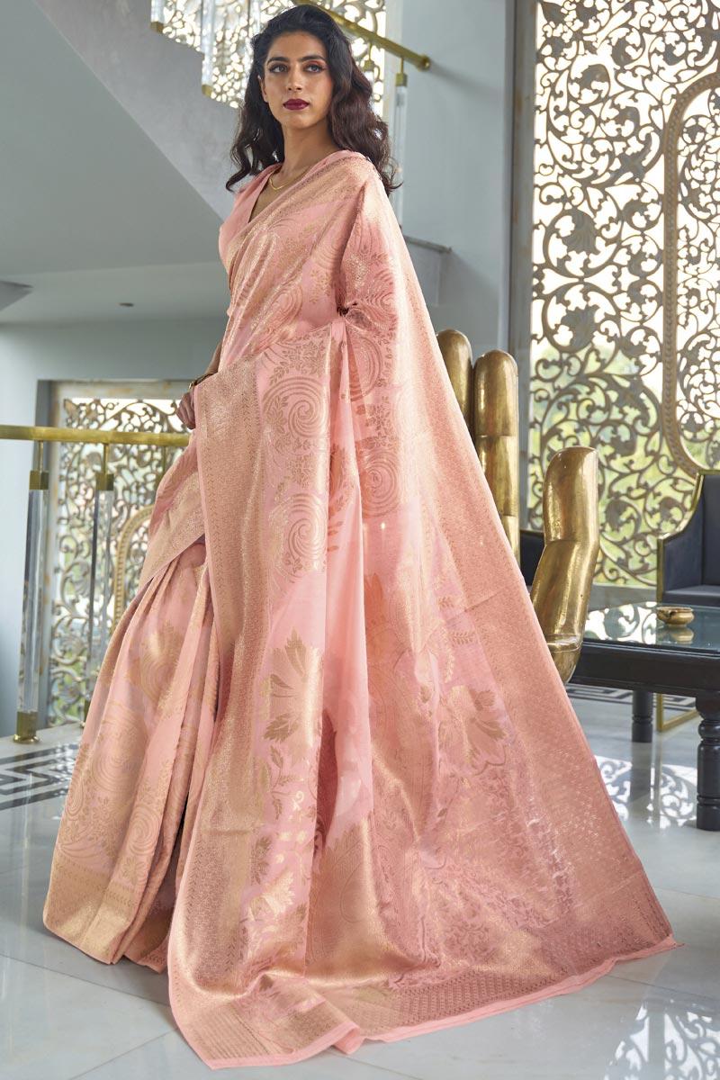 Art Silk Wedding Wear Fancy Peach Color Weaving Work Saree