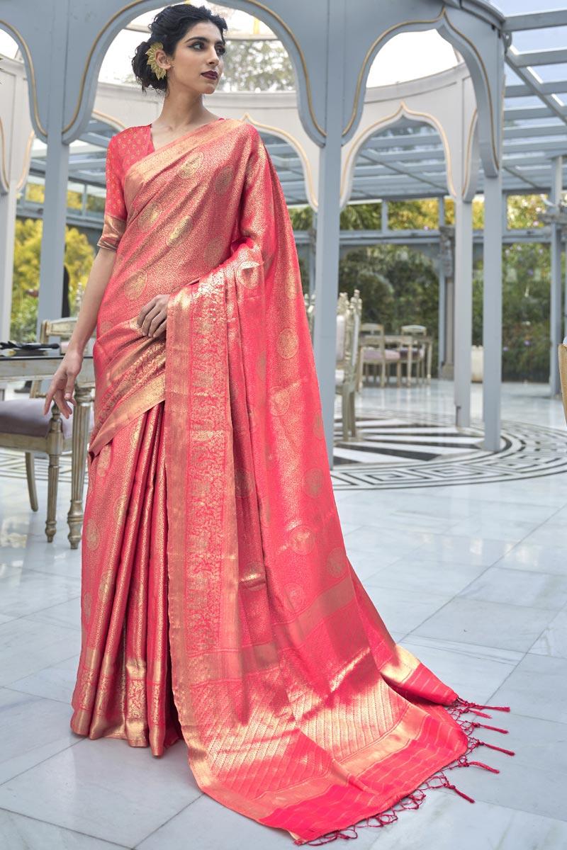 Art Silk Fabric Wedding Wear Pink Color Weaving Work Saree