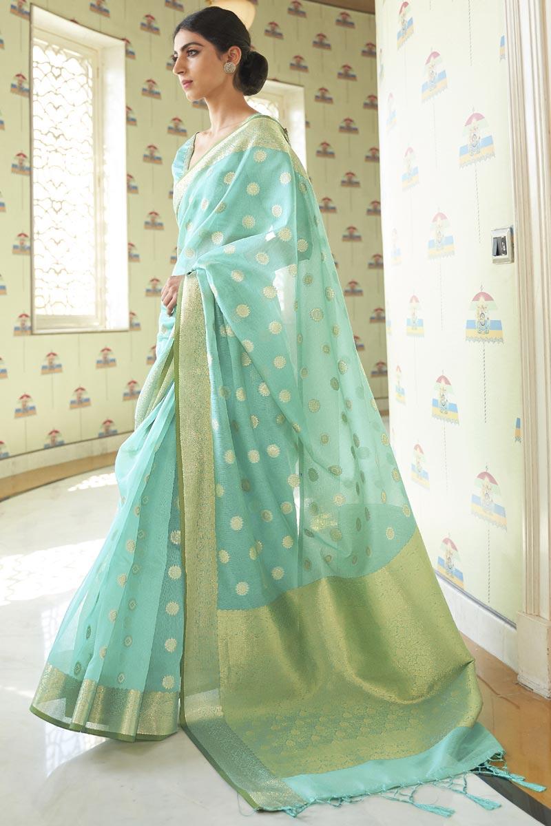Art Silk Fabric Fancy Traditional Wear Sea Green Color Saree