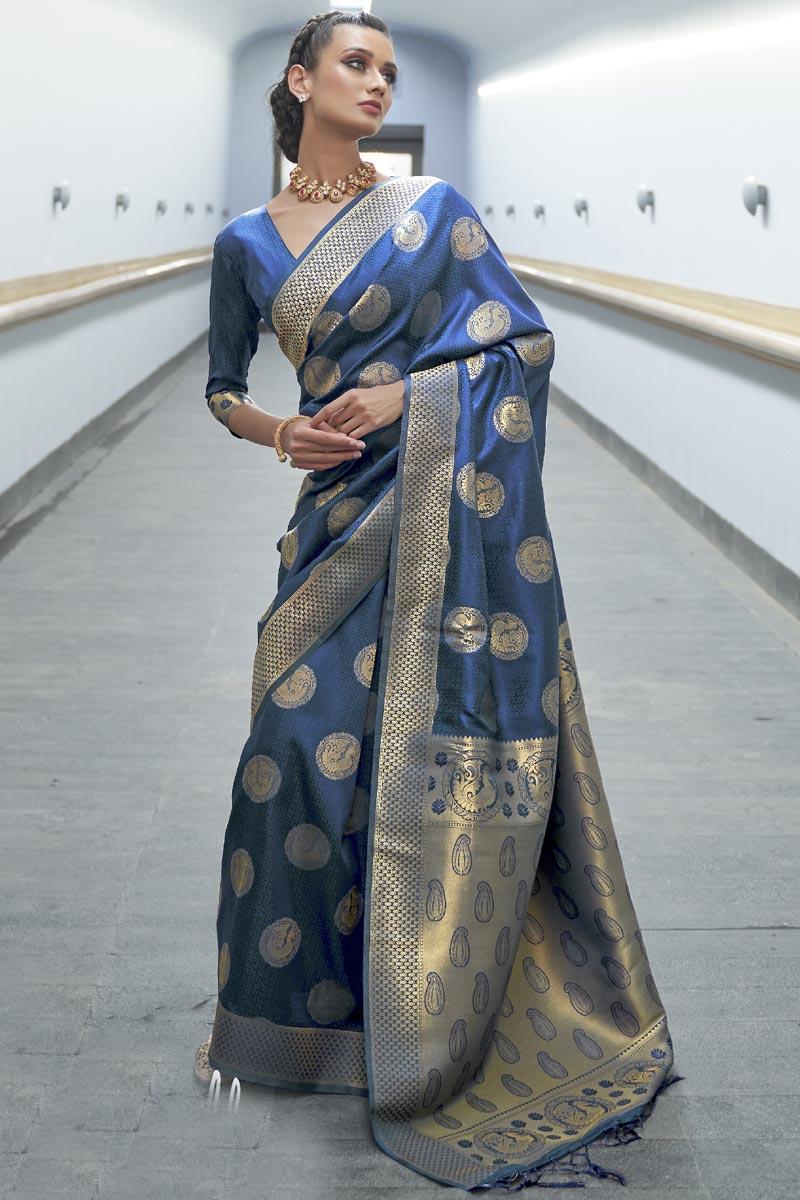 Navy Blue Color Festive Wear Art Silk Fabric Designer Saree