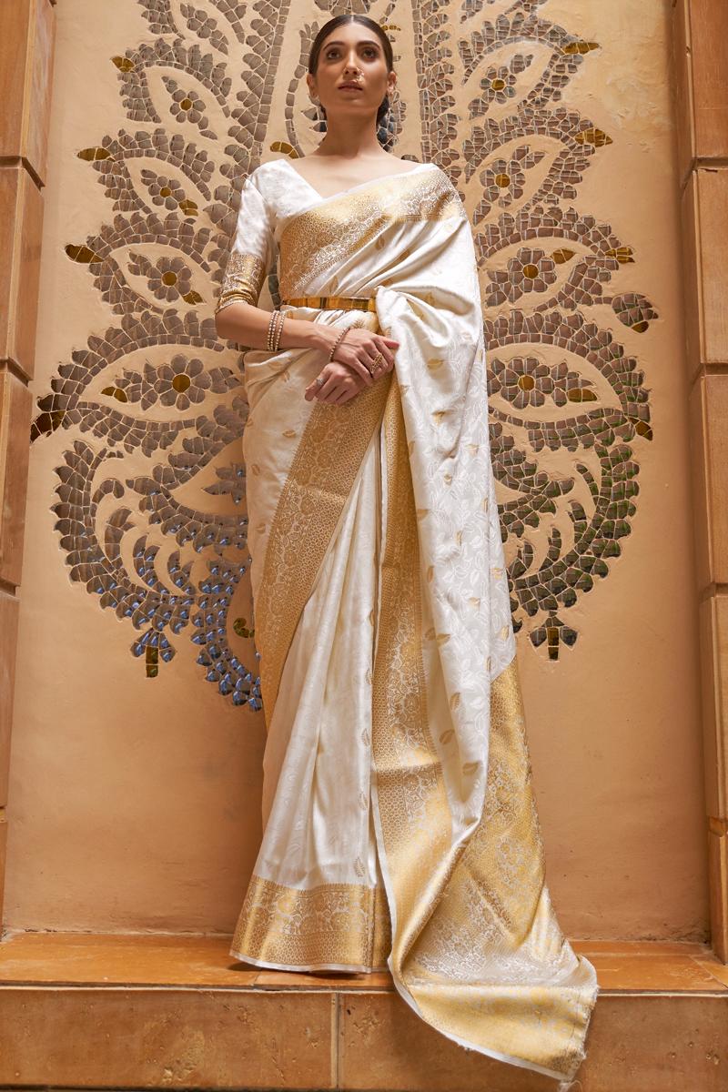 Off White Color Paithani Silk Fabric Weaving Work Function Wear Stylish Saree