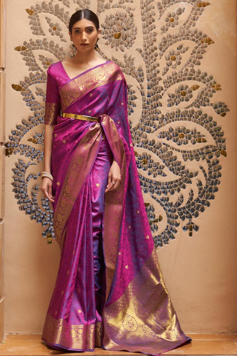 Paithani Silk Fabric Weaving Work Purple Color Wedding Wear Fancy Saree