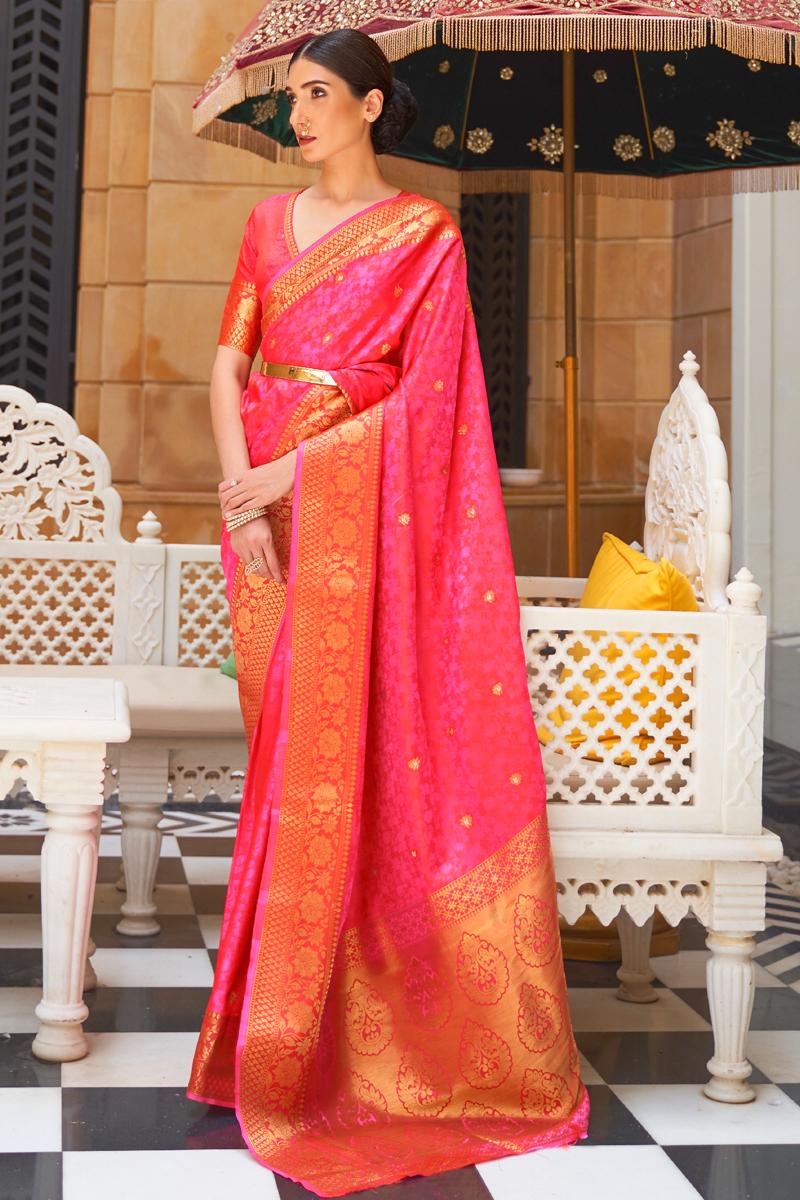 Pink Color Paithani Silk Fabric Stylish Weaving Work Function Wear Saree