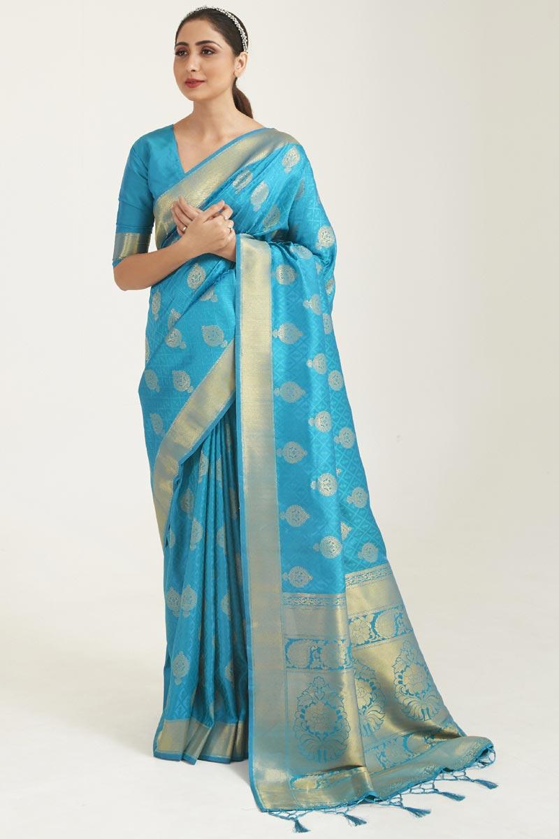 Festive Wear Cyan Color Art Silk Fabric Weaving Work Saree